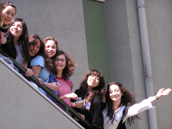 IB students Serra, Ayşe Su, Deniz, Begüm, Iraz, Aycan and Merve  pose on my stairway. Istanbul, Turkey: chapter 54, You must only to love them. http://mershon.wordpress.com
