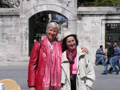 Ann Marie and Edda pose after agreeing to collaborate on a guidebook of Edda's tours. Istanbul, Turkey: annmariemershon.com