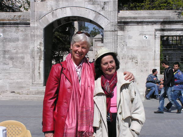 I pose with my friend and co-author Edda by a Süleymaniye gate. Istanbul, Turkey: chapter 55, You must only to love them. http://mershon.wordpress.com