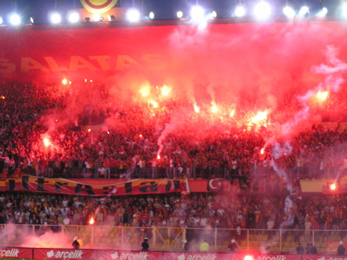 I was aghast when the entire upper bleachers burst into flame--apparently flares. Istanbul, Turkey: chapter 57, You must only to love them. http://mershon.wordpress.com