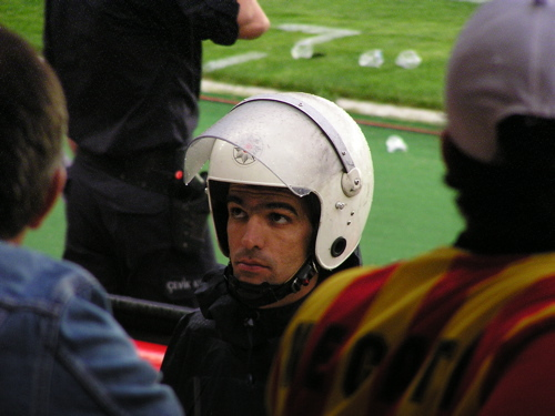 Helmeted police encircled the field. Istanbul, Turkey: chapter 57, You must only to love them. http://mershon.wordpress.com