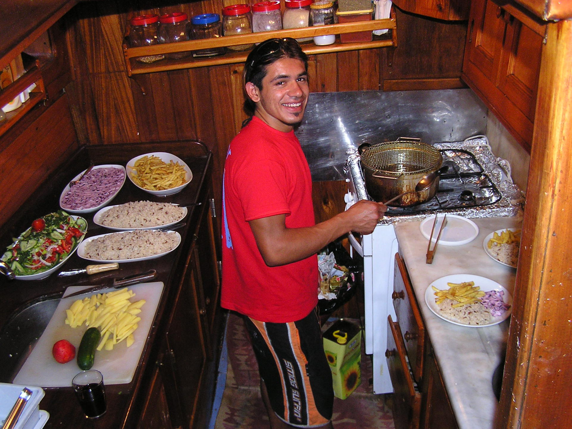Second Mate Söner performed magic in the boat's little galley kitchen. Mediterranean Coast, Turkey: chapter 59, You must only to love them. http://mershon.wordpress.com