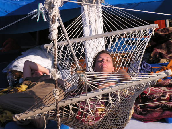Jana's favorite spot on board the Sevi 5 was the rope hammock. Mediterranean Coast, Turkey: chapter 59, You must only to love them. http://mershon.wordpress.com