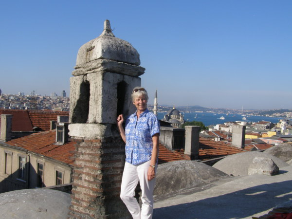 I pose on a chimney of the Sair Han, overlooking Istanbul. Istanbul, Turkey: chapter 62, You must only to love them. http://mershon.wordpress.com