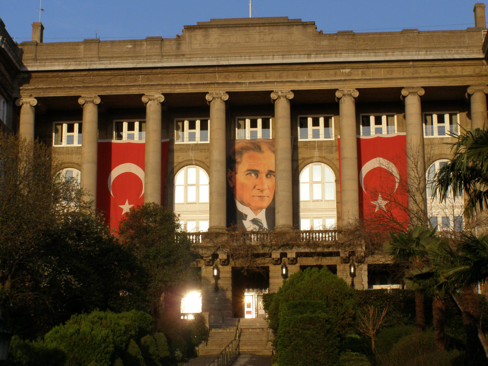 Robert College's Gould Hall is decked out for a national holiday. Istanbul, Turkey: chapter 63, You must only to love them. http://mershon.wordpress.com