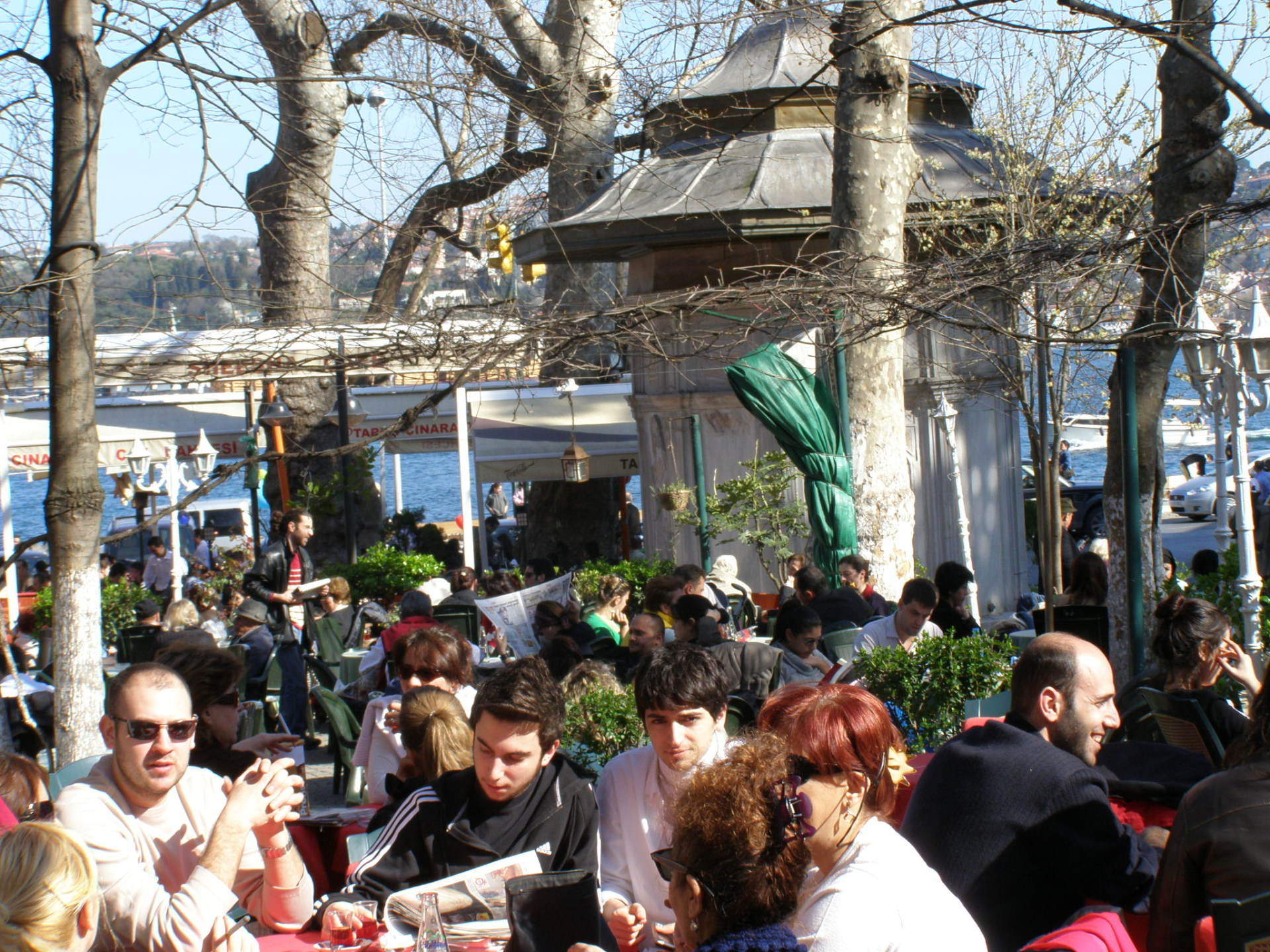 Emirgan's main square is filled with tables for tea on the Bosphorus. Istanbul, Turkey: chapter 64, You must only to love them. http://mershon.wordpress.com