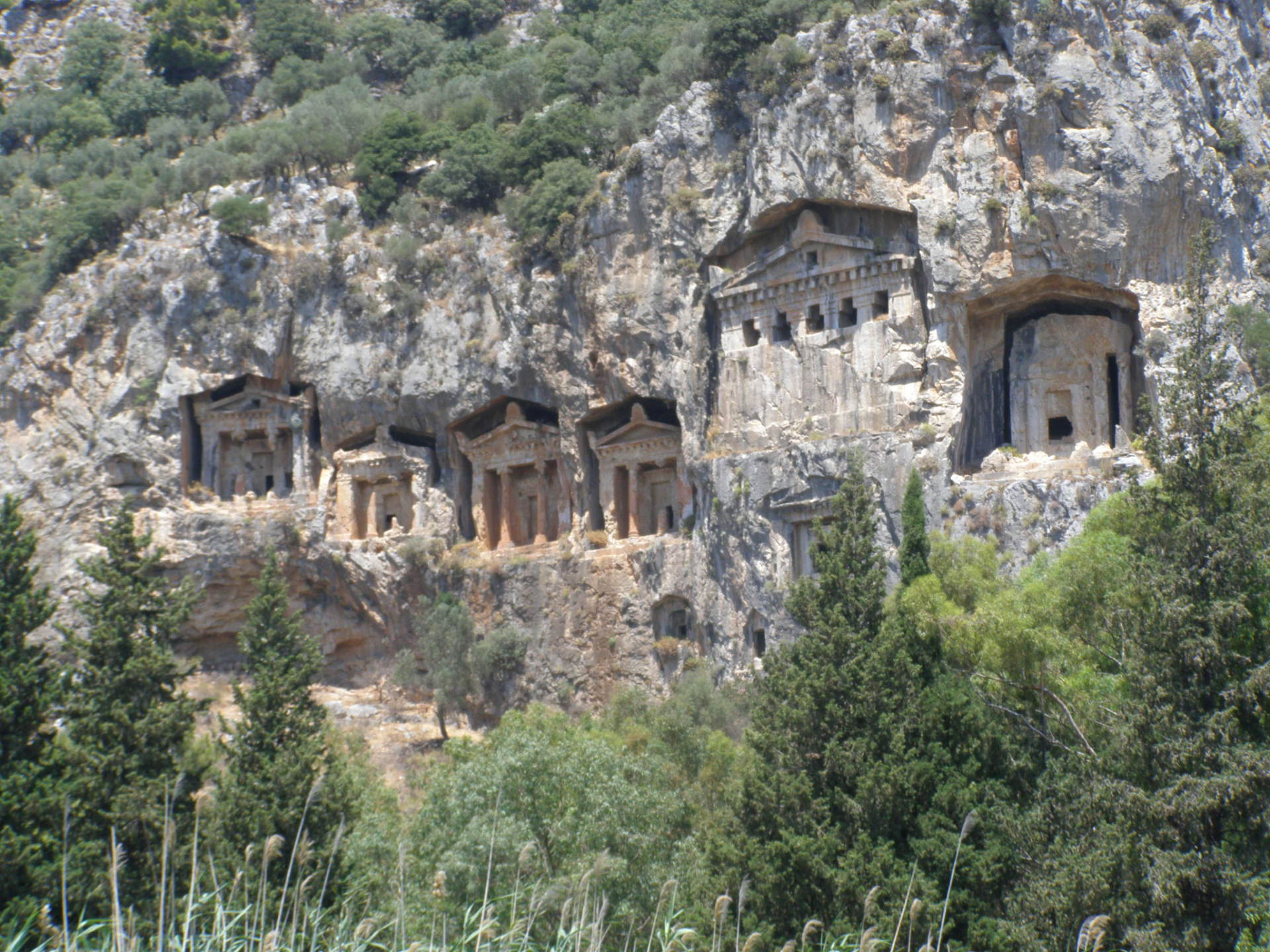 The marble cliffs overlooking Dalyan were carved with ornate tombs. Dalyan, Turkey: chapter 67, You must only to love them. http://mershon.wordpress.com