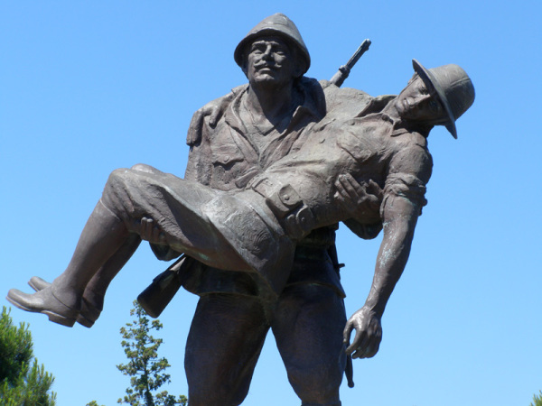 This statue at Gallipoli represents a Mehmet carrying a wounded Johnnie back to his trench. It was an ugly, bloody battle, with 130,000 soldiers lost. Gallipoli, Turkey: chapter 69, You must only to love them. http://mershon.wordpress.com