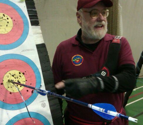 robin hood at Shropshire archery club in Cleobury Mortimer.