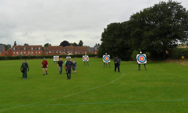 outdoor archery season at Shropshire archery club in Cleobury Mortimer.