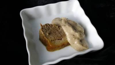 'Slow-cooked' Pastured Pork with Banana Pinenut Sauce
