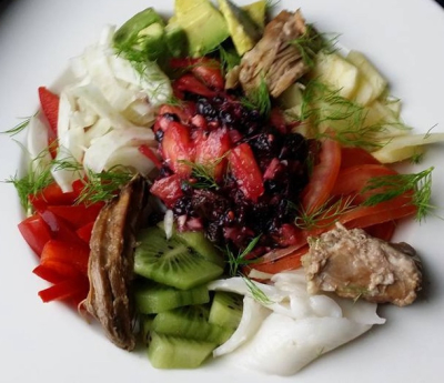 Vegetable Salad with Slow Cooked Meat Plus Pistachio Pesto Dressing