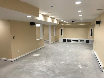 finish basement, install drywall, install lights, install toilet, finish shower, paint walls, install flooring