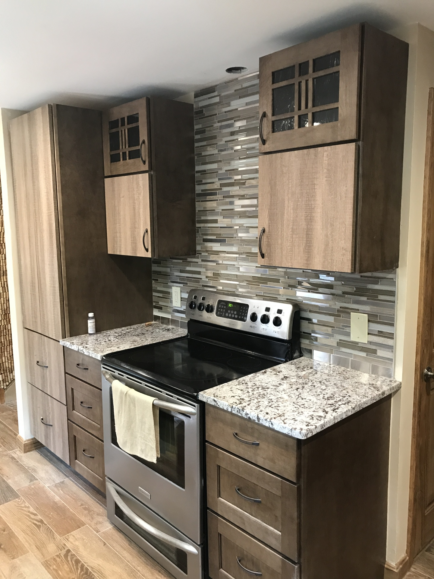 replaced plumbing, replaced kitchen cabinets, replaced kitchen lights