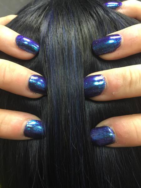 hair, blue, nailpolish