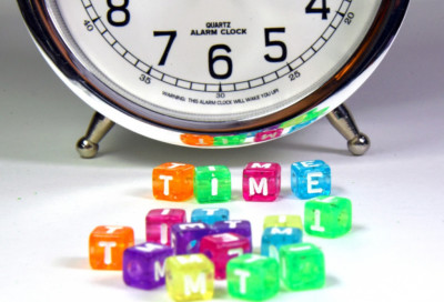 clock with children's time blocks