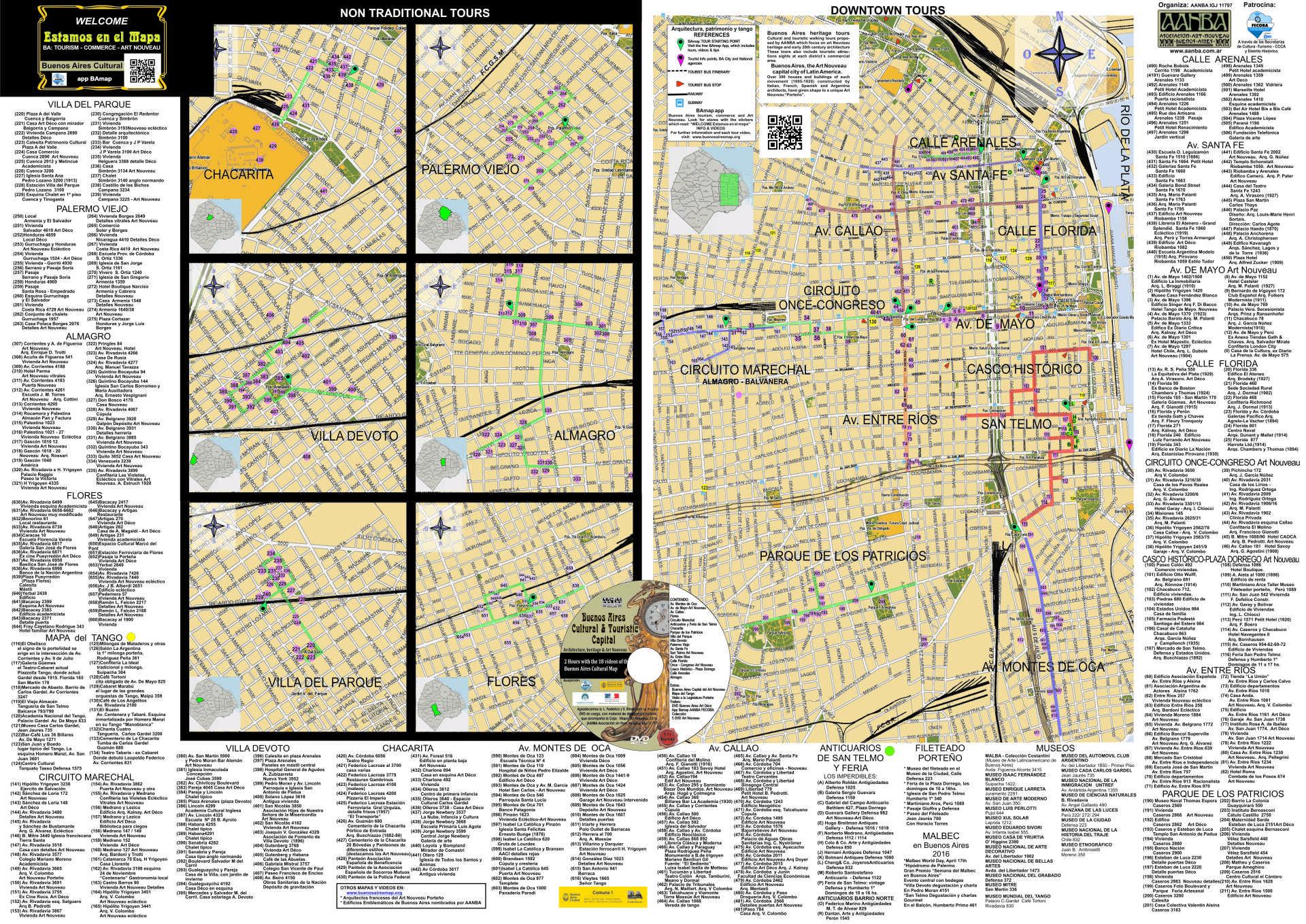 mapa guía turistico cultural Buenos Aires