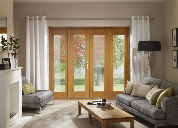 La Porte French Door in Pre-Finished External Oak Includes Sidelight Frame (Chrome Hardware)