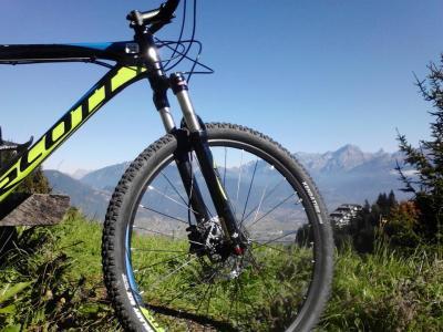 Mountains, through the wheel of a mountain bike