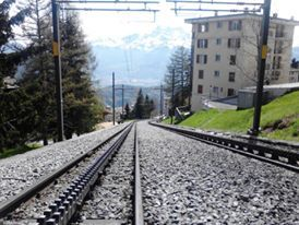 Cog train tracks, looking down the line