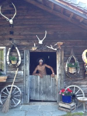 Old hut, with animal skulls hanging outside