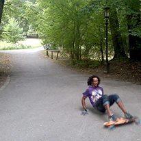 Longboard slide in Munich park