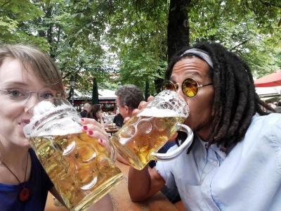 Big beer in Munich beer garden