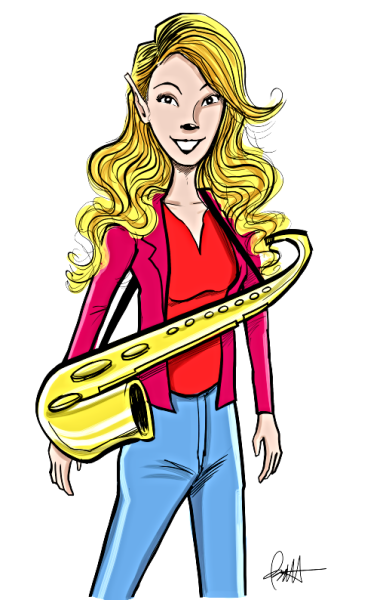 Delilah, Saxophone, Flute and Vocals for the Monster Rockers