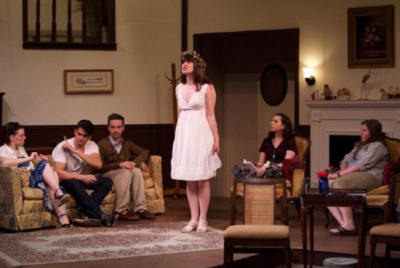 Photo by Jenna Burke   L to R: Haley Witko (Masha) , Nick Muoio (Spike), Matthew Steuerer (Vanya) ,