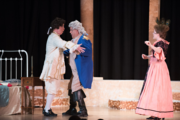 Mike Baker, Jr., as Mr. Reed, dances with Kurt Gustafson, George Washington in Steven W Rodgers' Revolutionary Gentleman