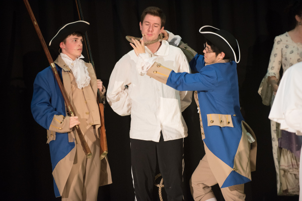 Cameron Lee Conlan as John Andre is about to be hanged for treason in Steven W Rodgers' Revolutionary Gentleman