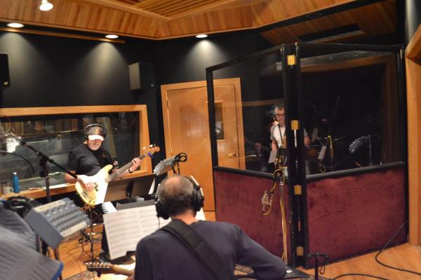 Paul Bell on guitar and Young Devereaux on sax at Cue Recording Studios, laying down tracks for Steven W Rodgers' musical Revolutionary Gentleman