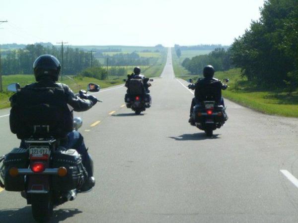 Riding through Alberta, Canada.
