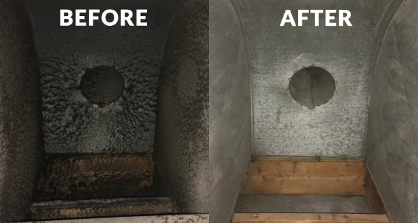 before and after photo, dirty and clean air ducts