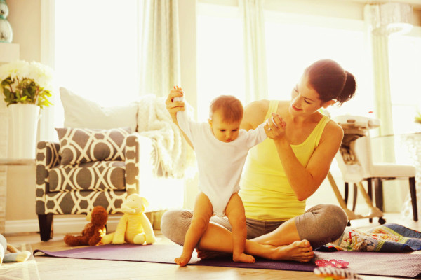clean home, happy family, mother and child