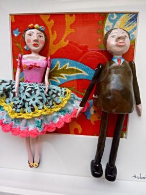 paper mache, Frida Kahlo, Diego Rivera, sculpture, unique, personalise, original
