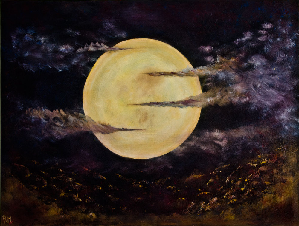Rolly-Mouchaty, rollymoon, Moon, full-moon, oil-painting, art, oil-on-canvas, serene-moon,