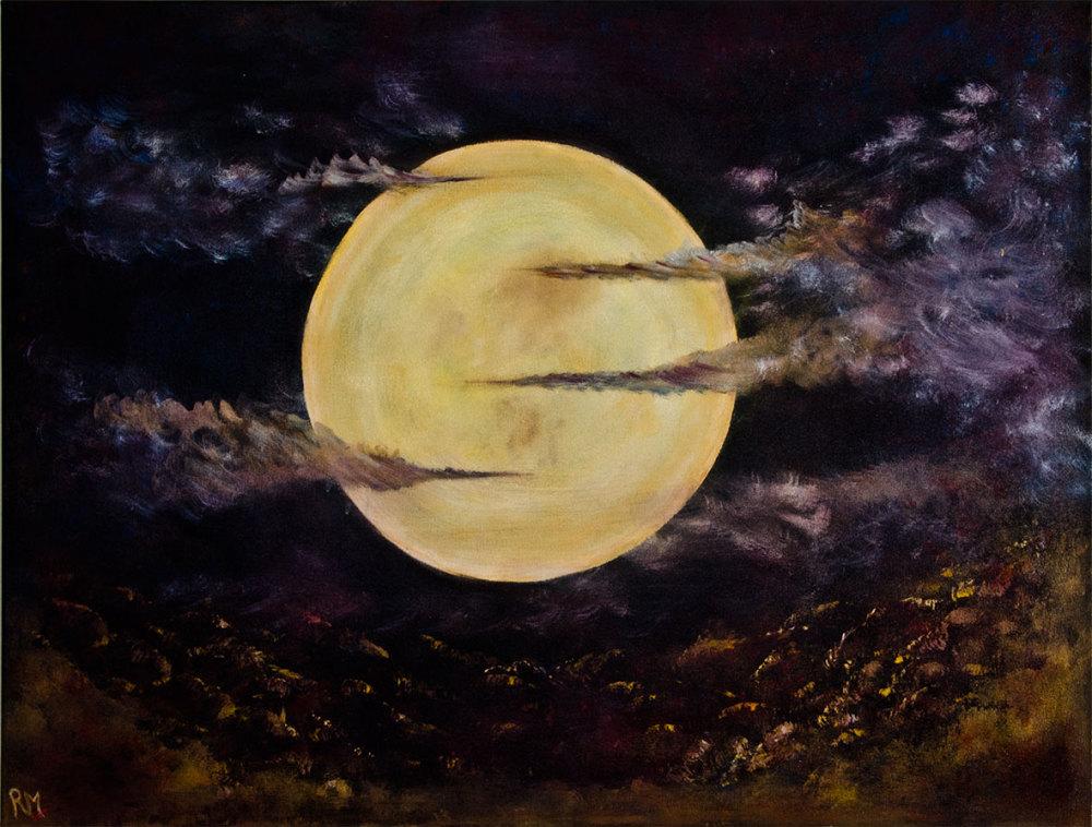 Rolly-Mouchaty, rollymoon, Moon, full-moon, oil-painting, art, oil-on-canvas, serene-moon,