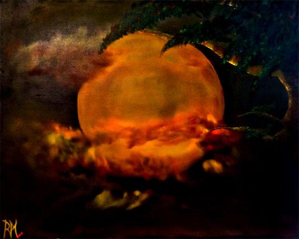 Rolly-Mouchaty, rollymoon, Moon, full-moon, oil-painting, art, oil-on-canvas, silent-moon,