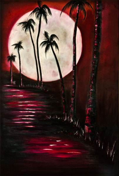 Rolly-Mouchaty, rollymoon, Moon, full-moon, oil-painting, art, oil-on-canvas, island-moon,