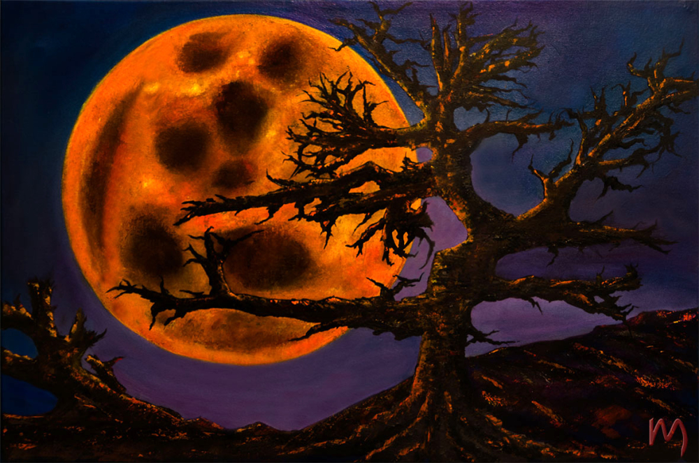 Rolly-Mouchaty, rollymoon, Moon, full-moon, oil-painting, art, oil-on-canvas, sinister-moon,