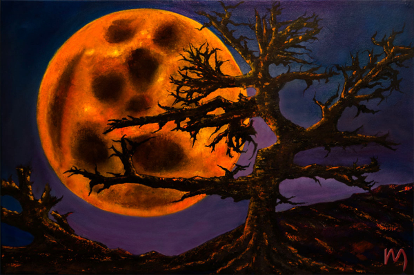Rolly-Mouchaty, rollymoon, Moon, full-moon, oil-painting, art, oil-on-canvas, sinister-moon,