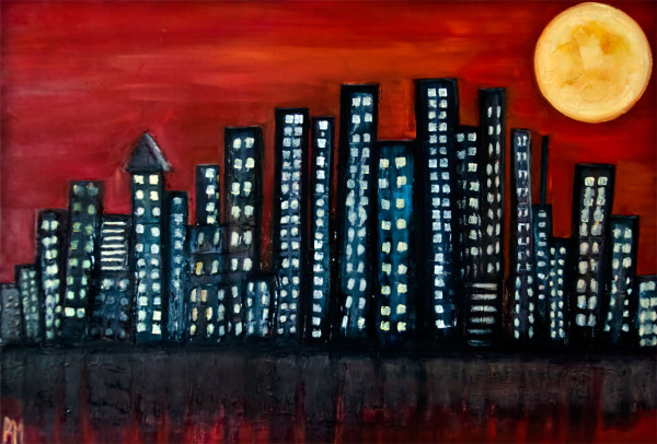Moon, full-moon, oil-painting, art, oil-on-canvas, LA-moon, Rolly-Mouchaty, rollymoon,