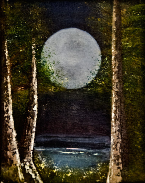 Moon, full-moon, oil-painting, art, oil-on-canvas, sneaky-moon, Rolly-Mouchaty, rollymoon,