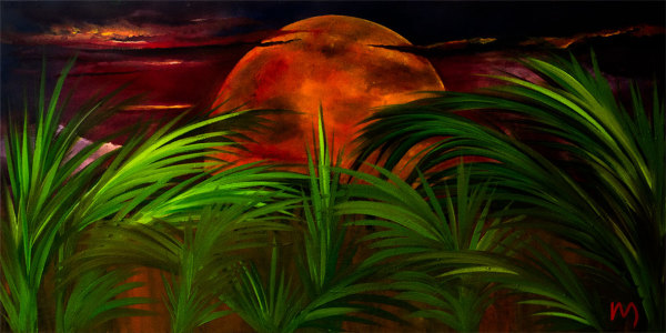 Rolly-Mouchaty, rollymoon, Moon, full-moon, oil-painting, art, oil-on-canvas, tropical-moon,