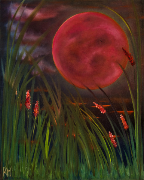 Rollymoon, oil-on-canvas, oil-painting, full-moon, Barely-Spike-Moon,