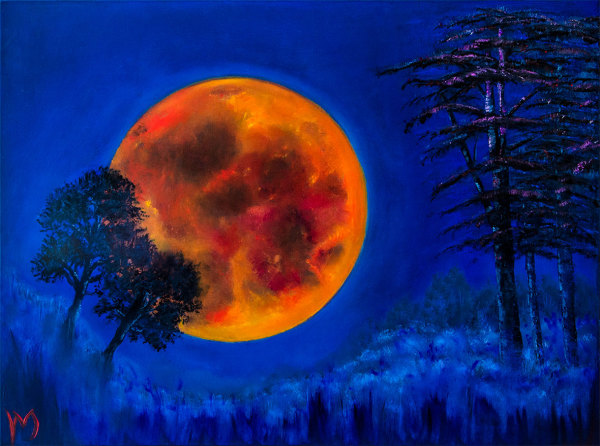 rollymoon, rolly-mouchaty, oil-painting, art, red, orange, intense-blue, trees,  Boca-Raton, South-Florida, oil-on-canvas, Only-you-moon