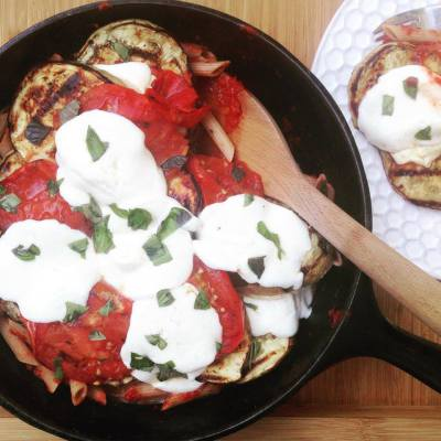 Grilled Eggplant and Chicken Parmesan