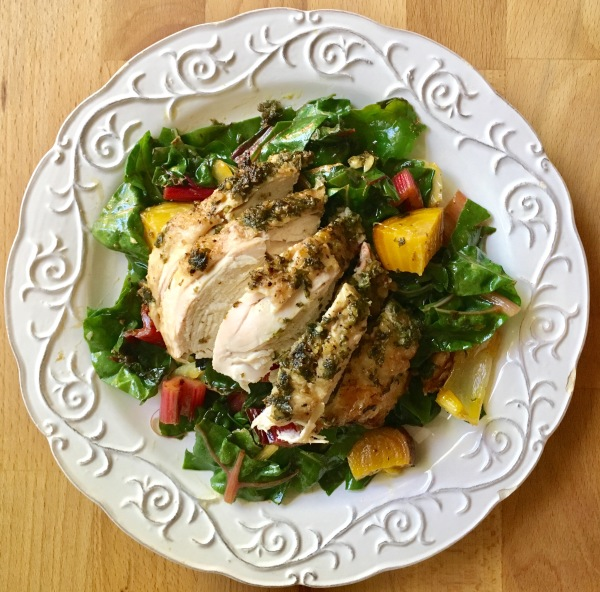 Pesto Baked Chicken Breasts over Rainbow Chard and Golden Beets