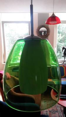 Retro, Glas, green Lamp